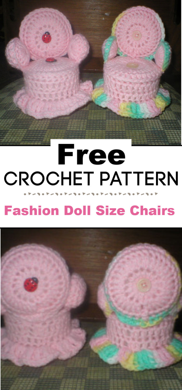 Fashion Doll Size Chairs in Crochet