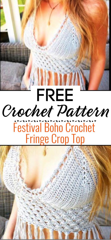 Festival Boho Crochet Fringe Crop Top