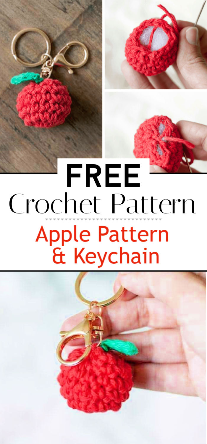 Free Crochet Apple Pattern Keychain