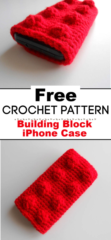 Free Crochet Pattern Building Block iPhone Case