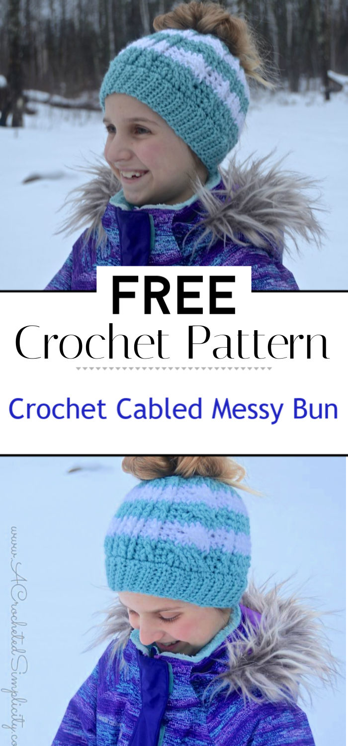 Free Crochet Pattern Crochet Cabled Messy Bun