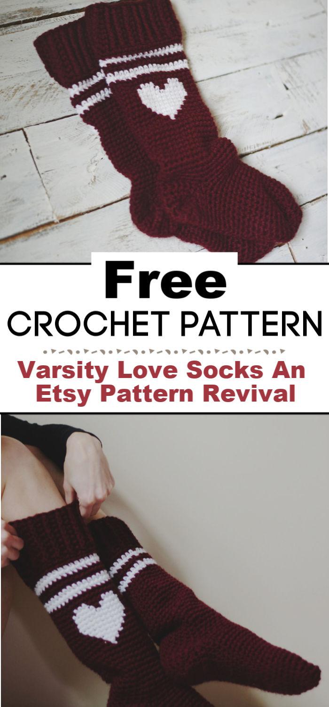 Free Crochet Pattern for the Varsity Love Socks An Etsy Pattern Revival