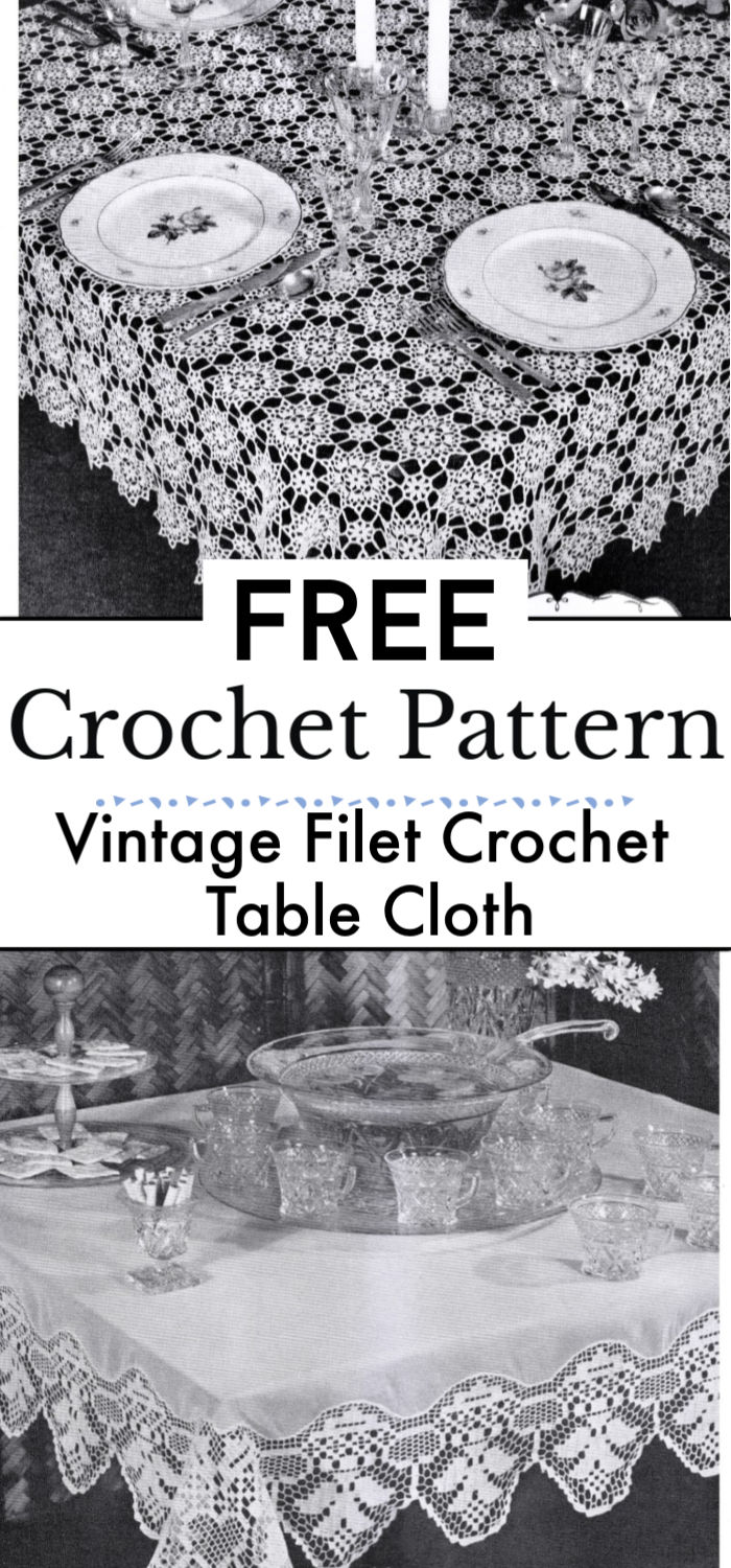 Free Vintage Filet Crochet Table Cloth Pattern