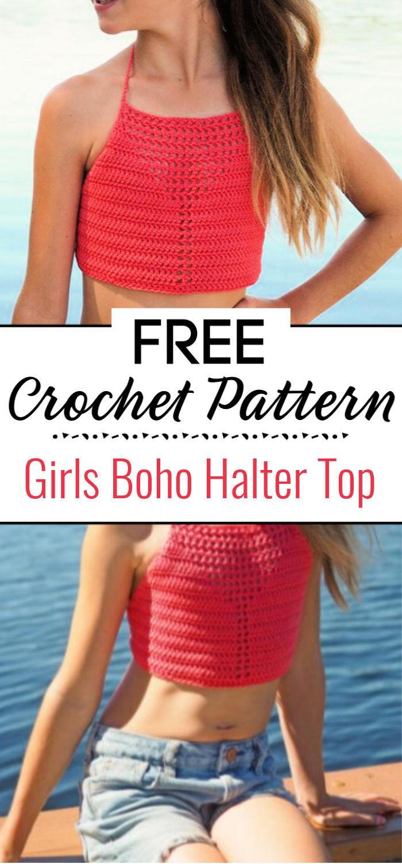 Girls Boho Halter Top Crochet Pattern