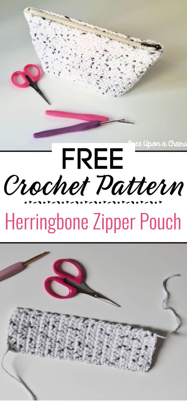 Herringbone Zipper Pouch Crochet Pattern