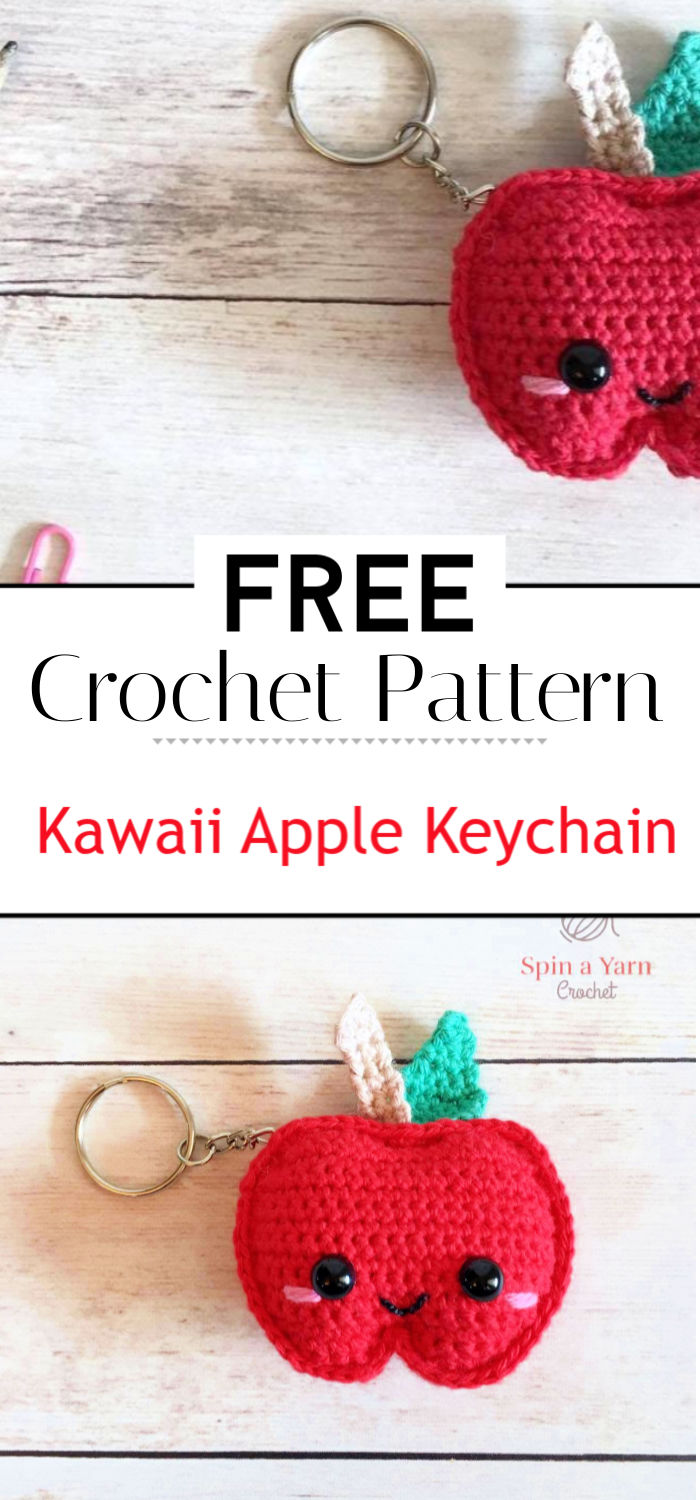 Kawaii Apple Keychain Free Crochet Pattern