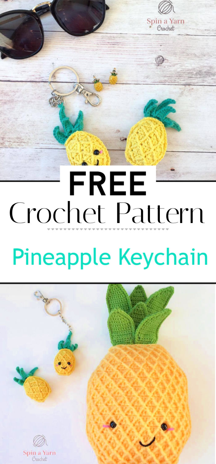 Pineapple Keychain Free Crochet Pattern