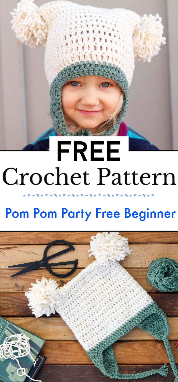 Pom Pom Party Free Beginner Crochet Hat Pattern