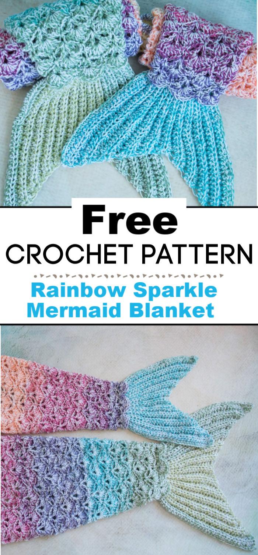 Rainbow Sparkle Mermaid Blanket