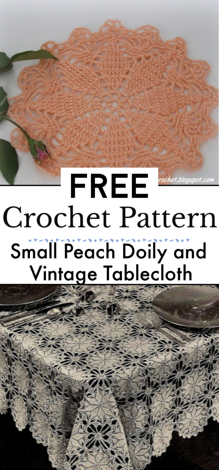 Small Peach Doily and Vintage Tablecloth Pattern