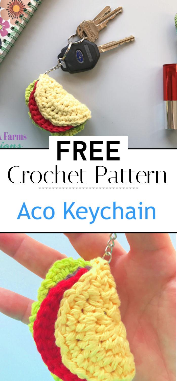 Taco Keychain Free Crochet Pattern