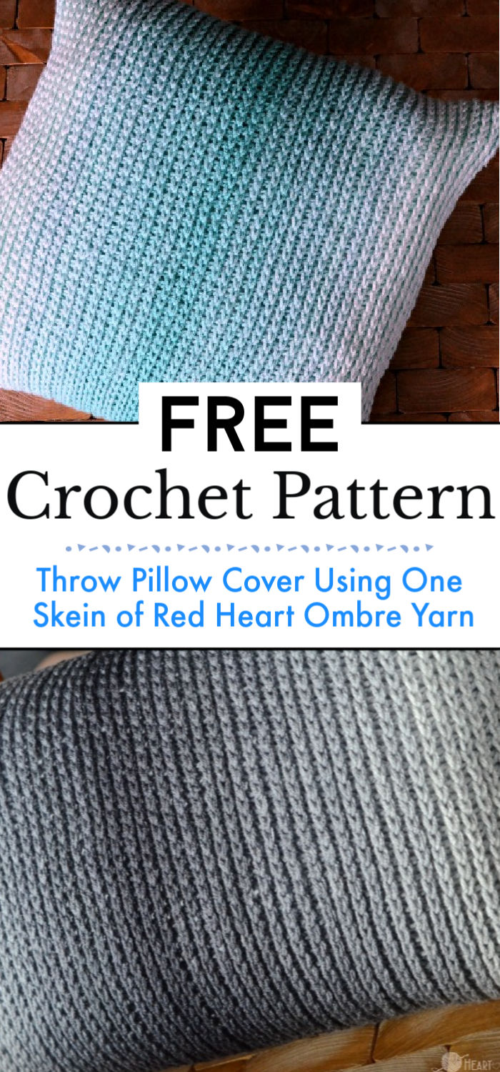Throw Pillow Cover Crochet Pattern Using One Skein of Red Heart Ombre Yarn