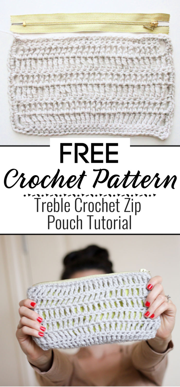 Treble Crochet Zip Pouch Tutorial
