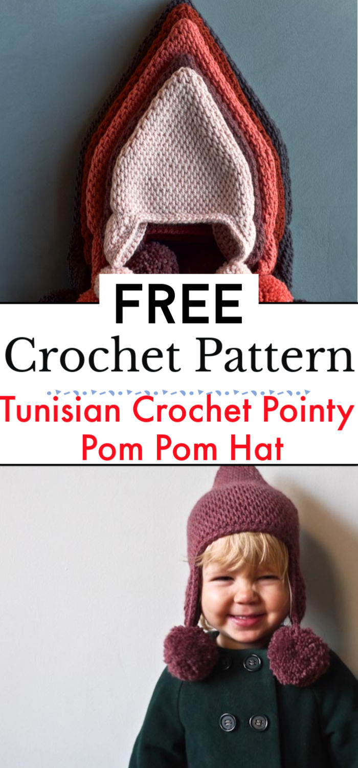 Tunisian Crochet Pointy Pom Pom Hat