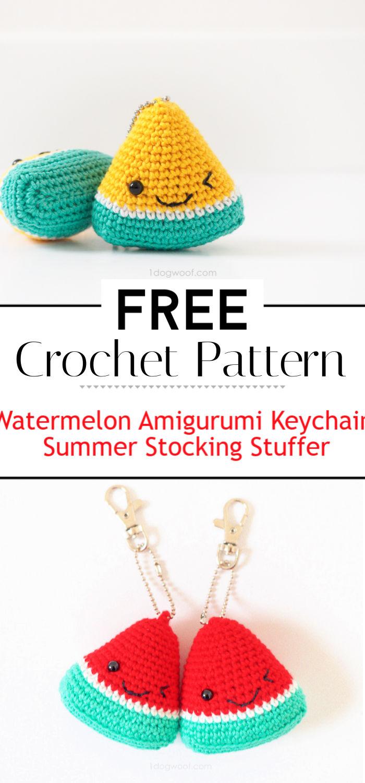 Watermelon Amigurumi Keychain Summer Stocking Stuffer