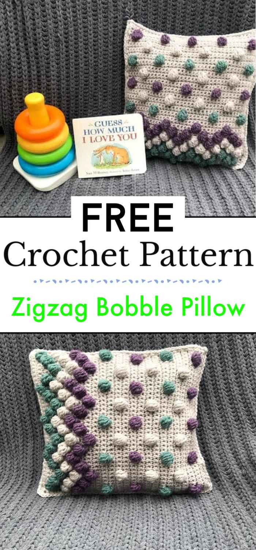 Zigzag Bobble Pillow A Free Crochet Pattern