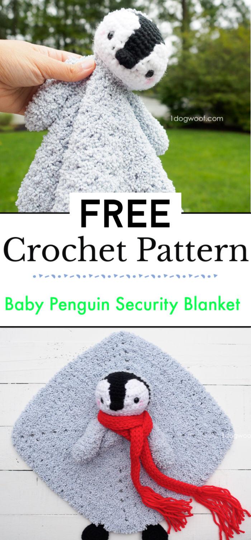 Baby Penguin Crochet Security Blanket