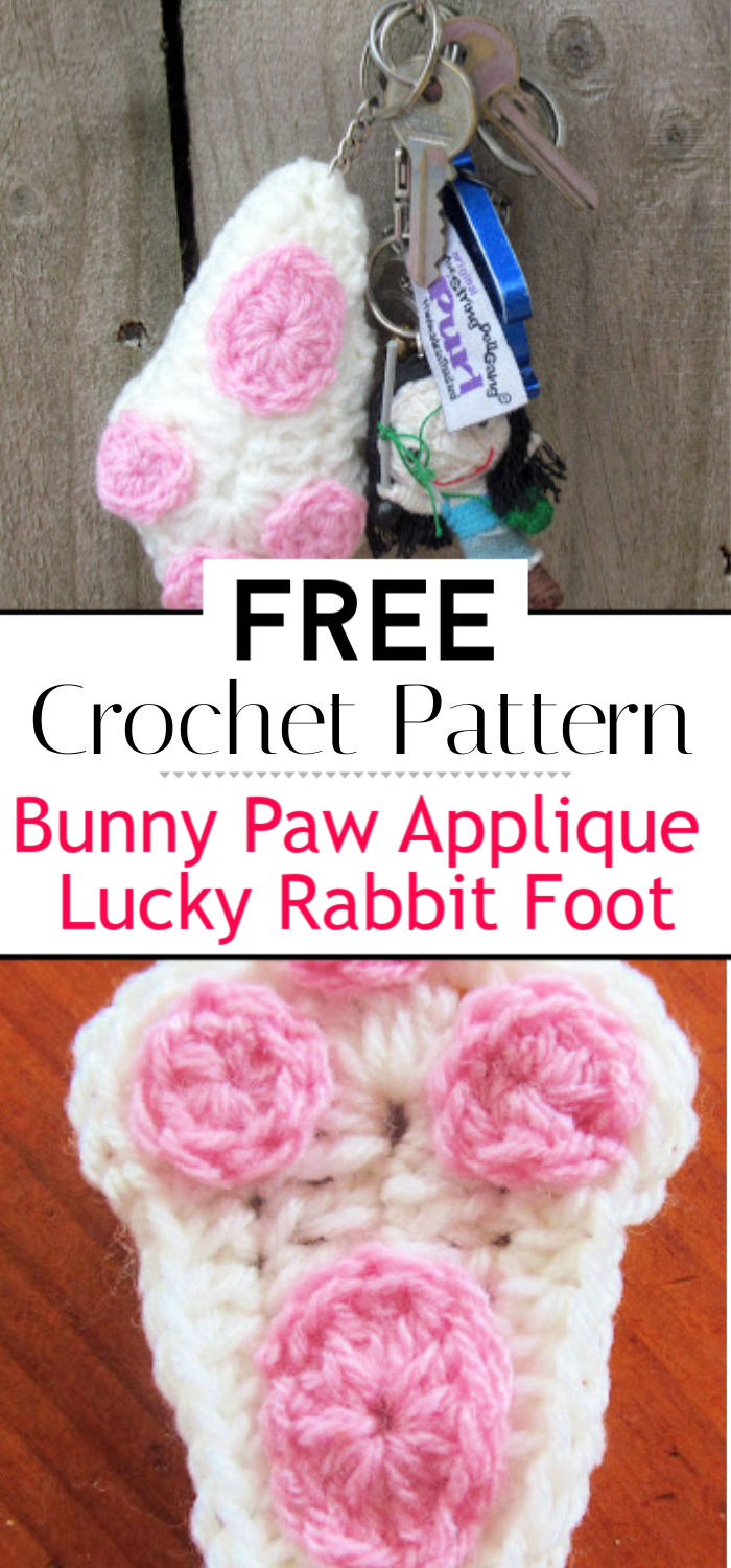 Bunny Paw Applique Lucky Rabbit Foot
