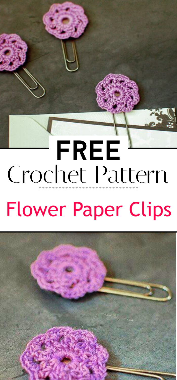 Crochet Flower Paper Clips