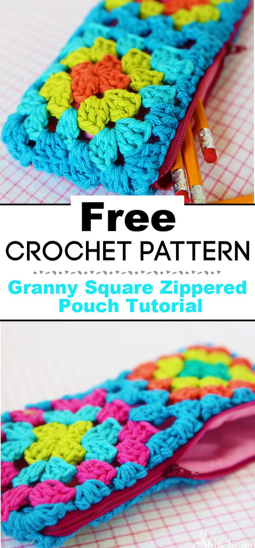 Crochet Granny Square Zippered Pouch Tutorial