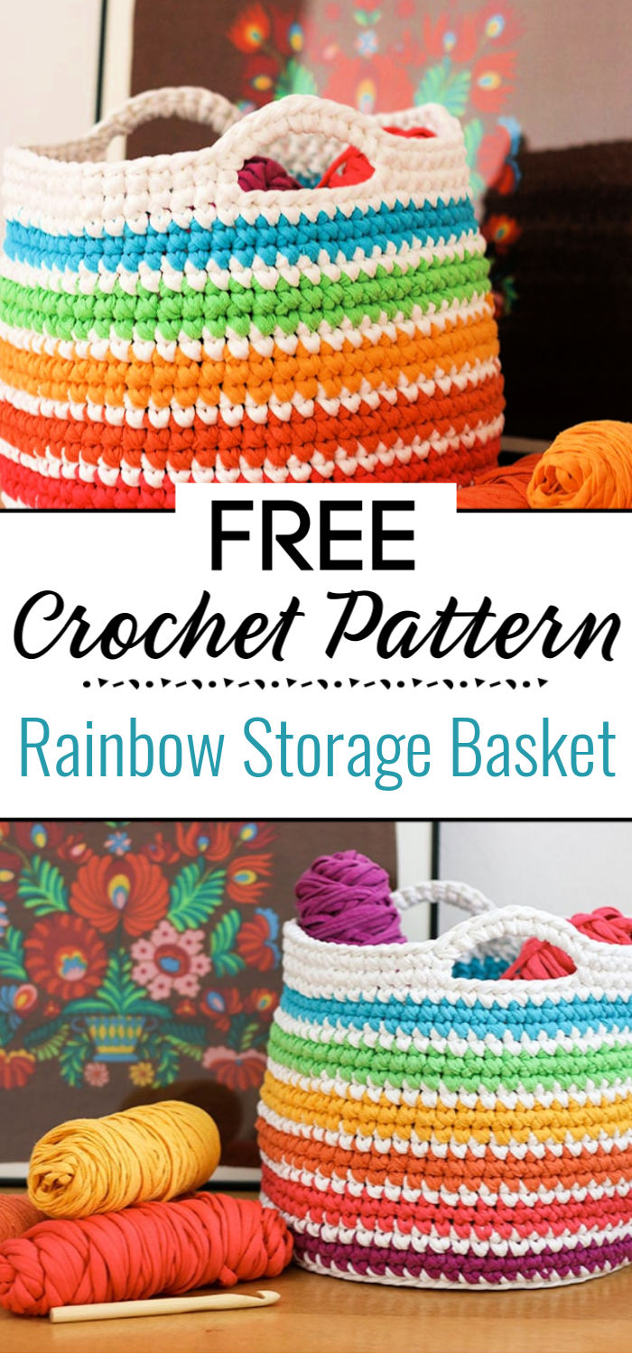 Crochet Pattern Rainbow Storage Basket