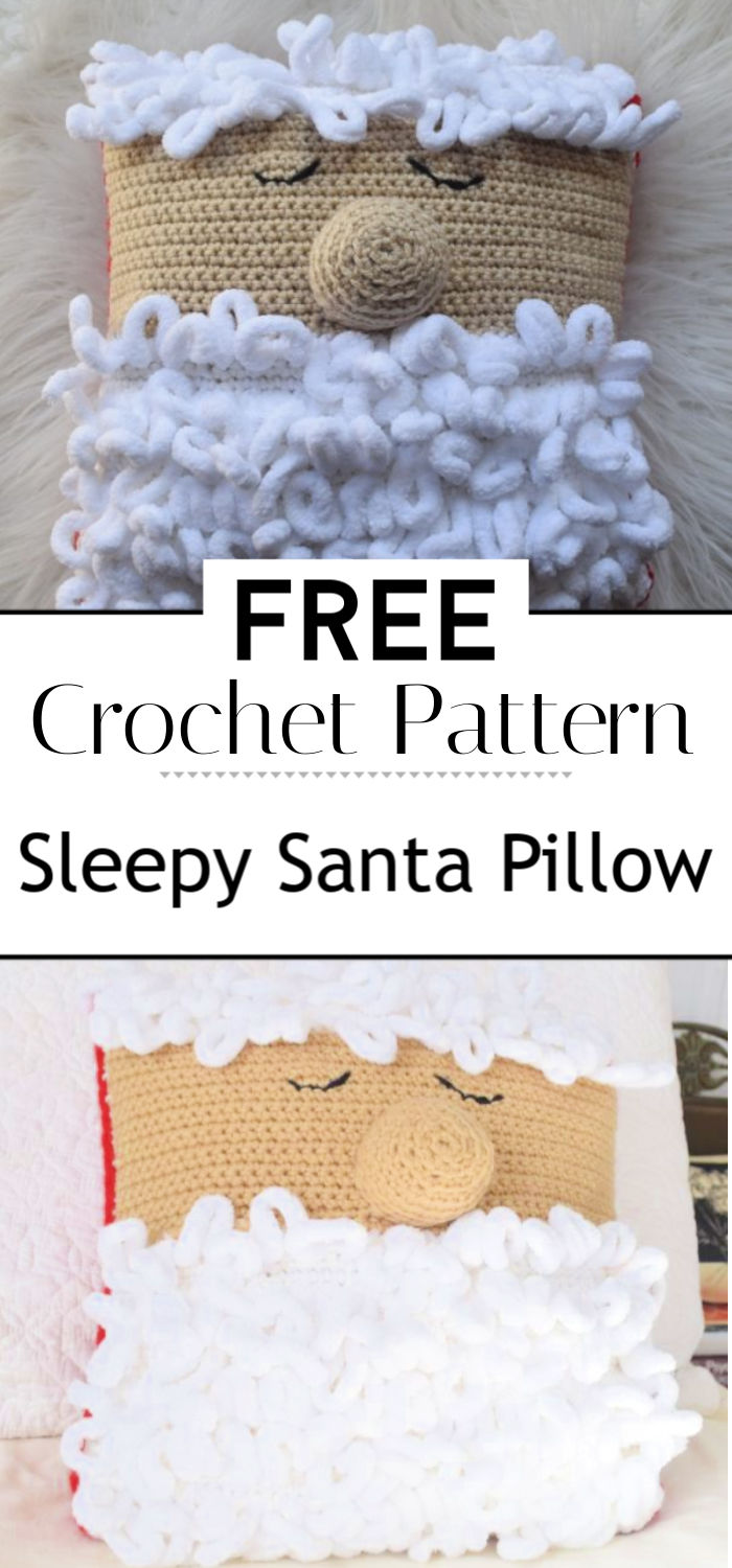 Crochet Pattern Sleepy Santa Pillow