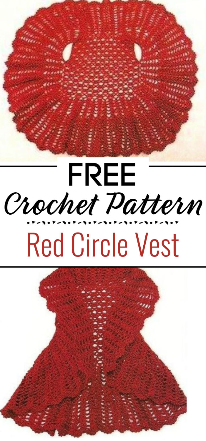 Crochet Red Circle Vest