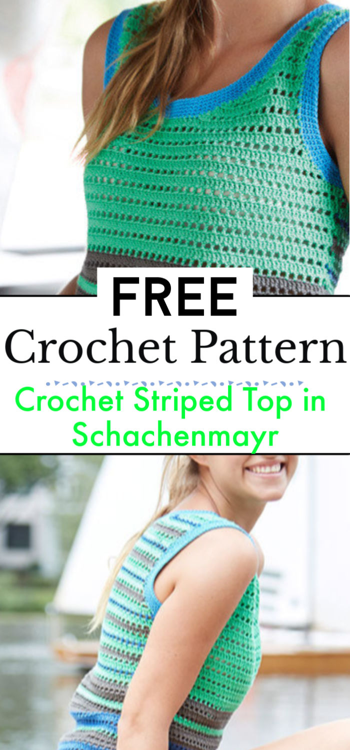 Crochet Striped Top in Schachenmayr