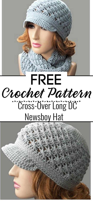 Cross Over Long DC Newsboy Hat Free Crochet Pattern