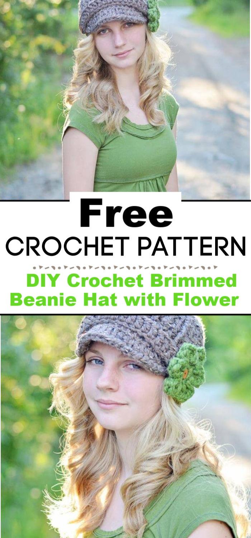 DIY Crochet Brimmed Beanie Hat with Flower