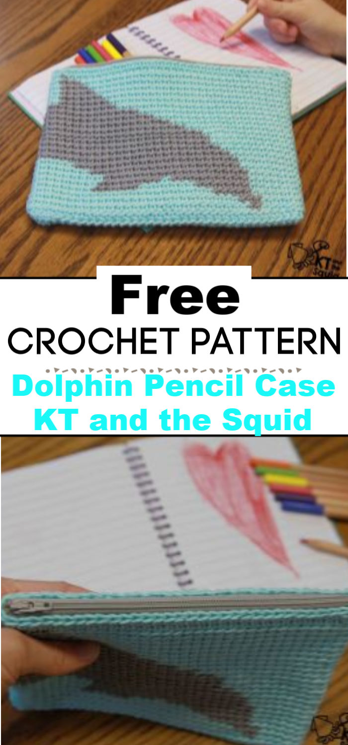 Dolphin Pencil Case Free Crochet Pattern KT and the Squid