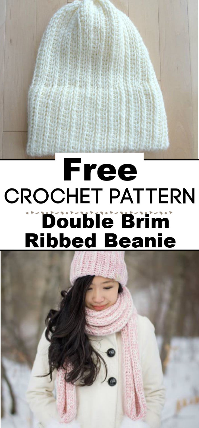 Double Brim Ribbed Crochet Beanie
