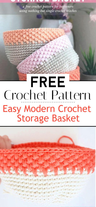 Easy Modern Crochet Storage Basket Free Crochet Pattern