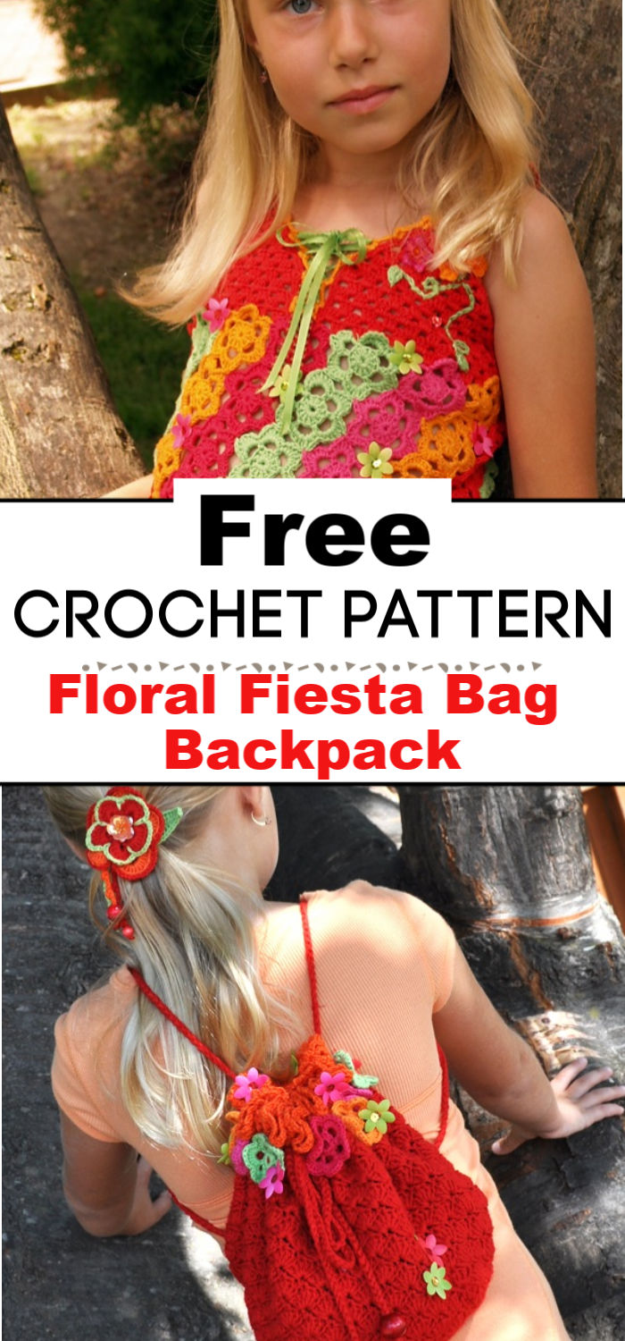 Floral Fiesta Crochet Bag Backpack Free Pattern for Kids
