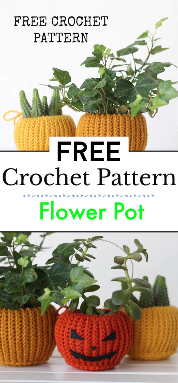 Flower Crochet Pot Free Pattern