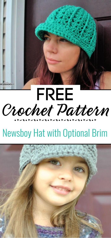 Free Crochet Newsboy Hat Pattern with Optional Brim