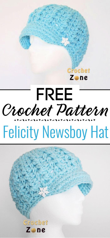 Free Crochet Pattern Felicity Newsboy Hat