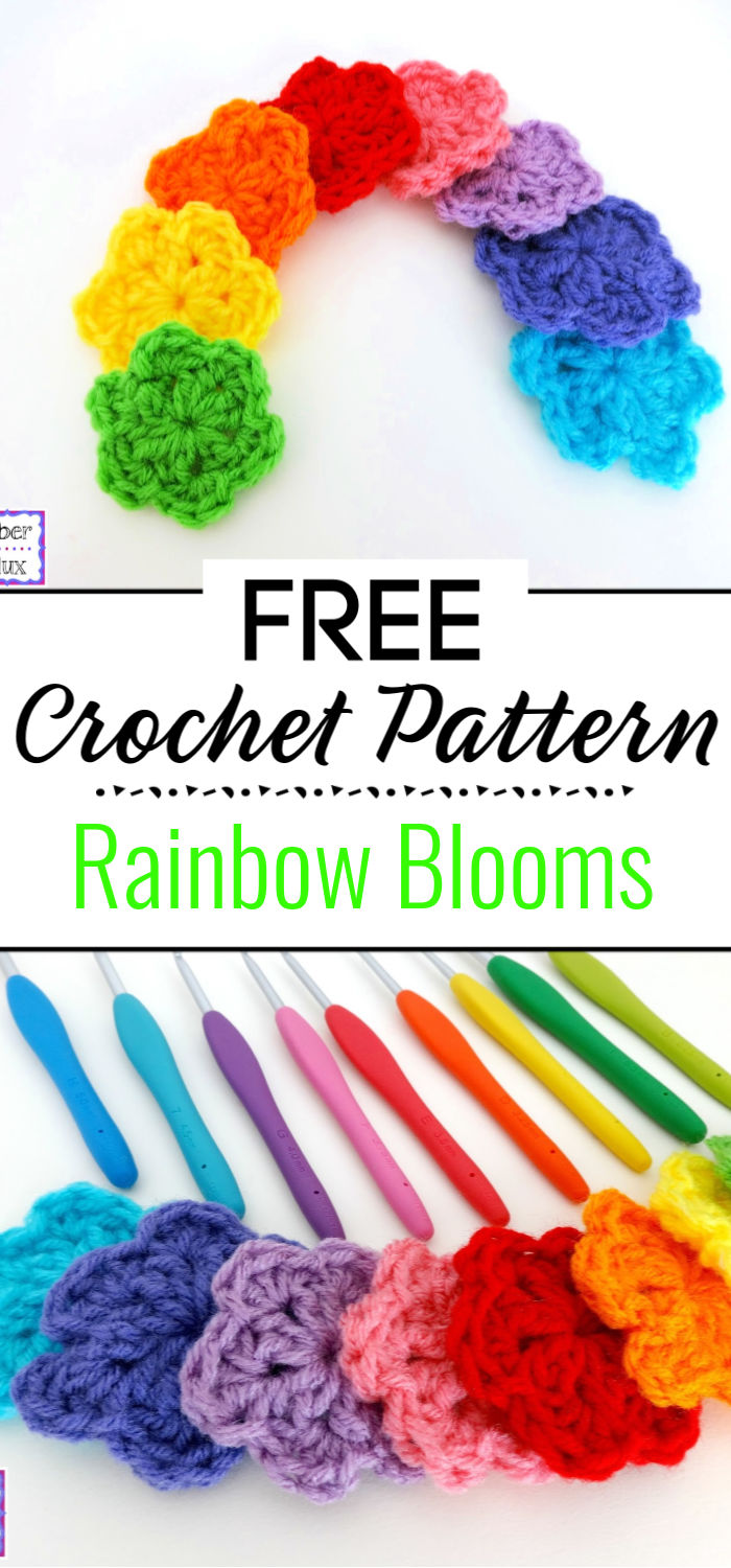 Free Crochet Pattern Rainbow Blooms