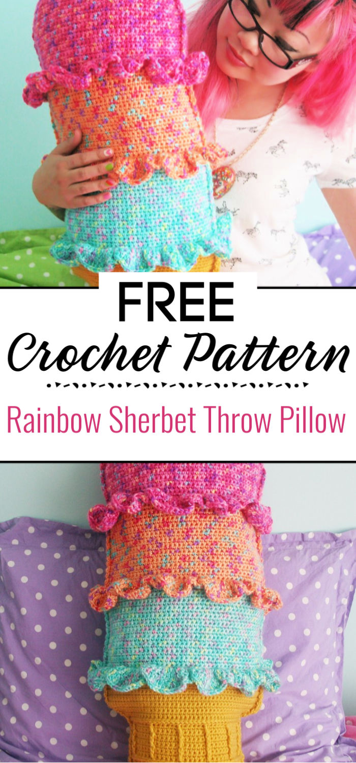 Free Crochet Pattern Rainbow Sherbet Throw Pillow