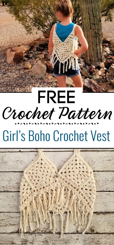 Girl's Boho Crochet Vest