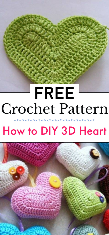 How to DIY Crochet 3D Heart Free Pattern