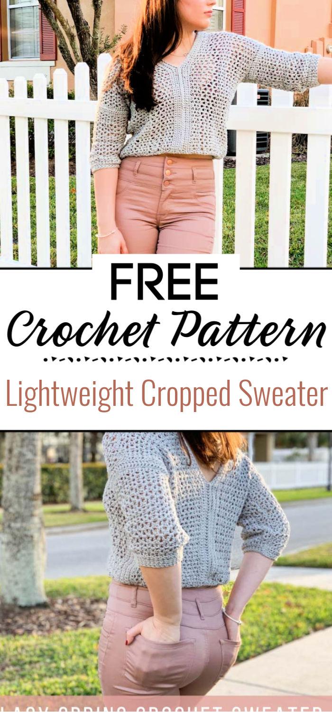 Lightweight Cropped Crochet Sweater Free Pattern