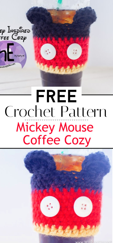 Mickey Mouse Coffee Cozy Free Crochet Pattern