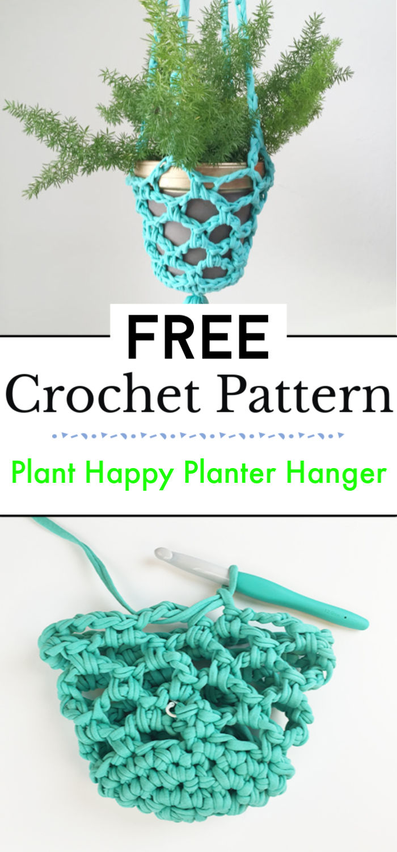 Plant Happy Crochet Planter Hanger
