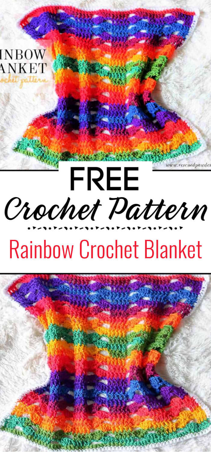 Rainbow Crochet Blanket Free Pattern