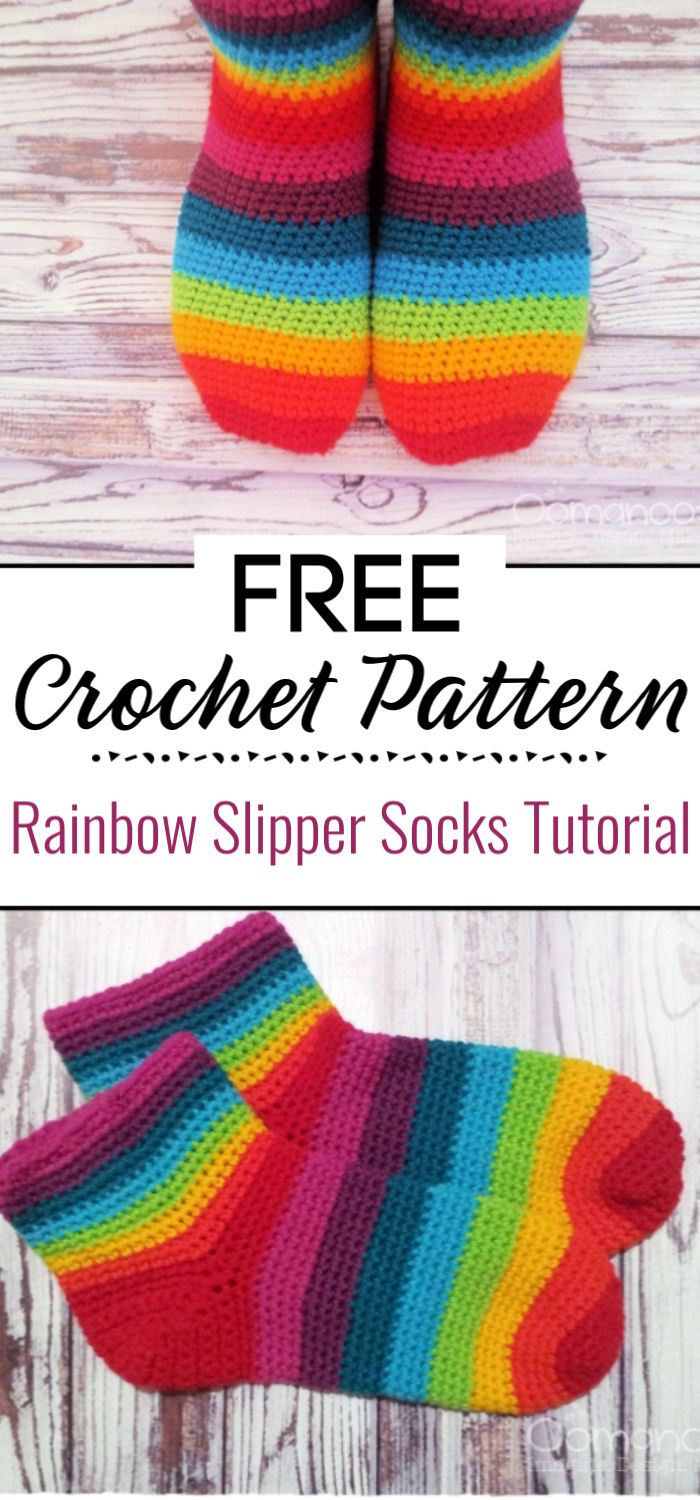 Rainbow Slipper Socks Tutorial
