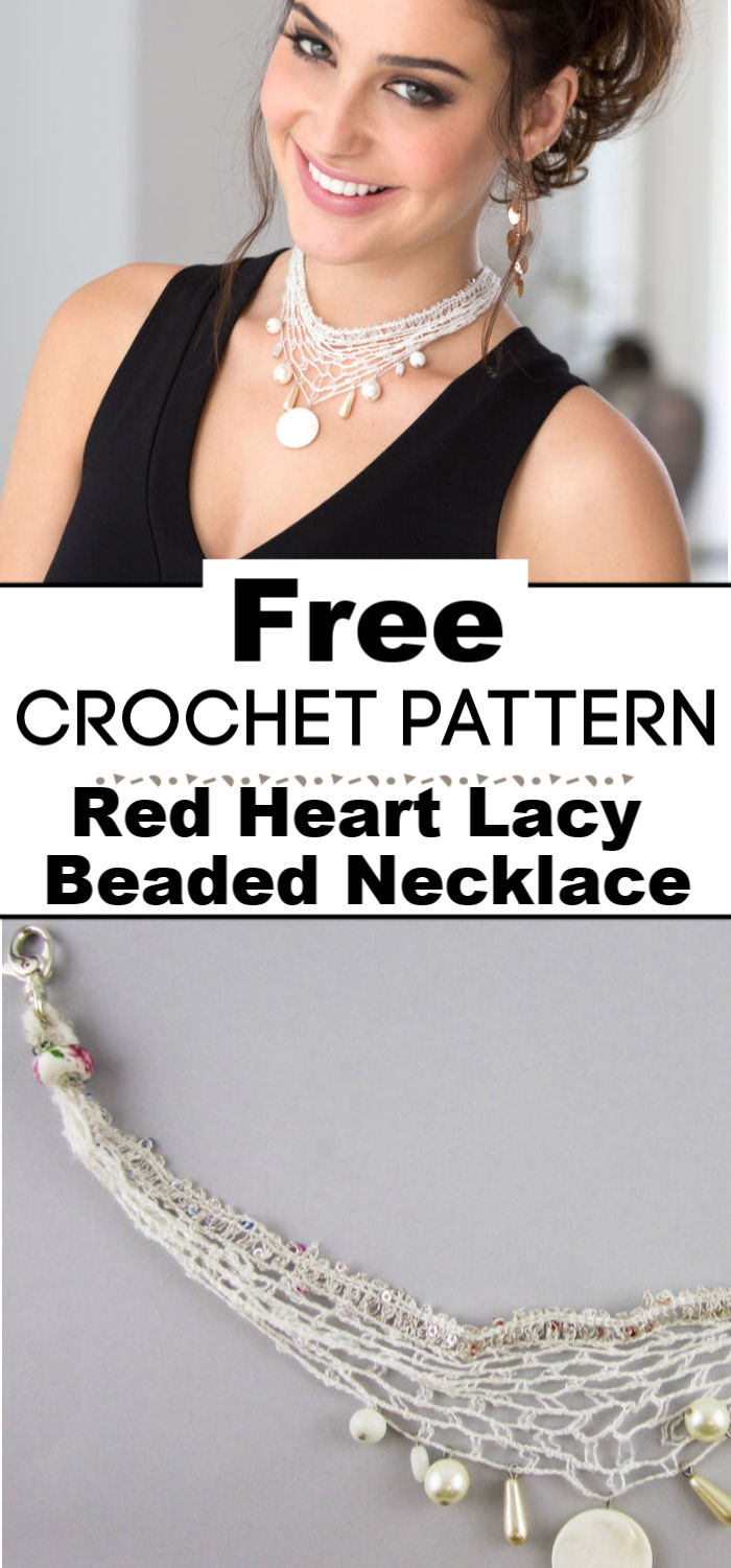 Red Heart Lacy Beaded Necklace