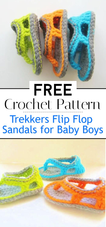 Trekkers Crochet Pattern Flip Flop Sandals for Baby Boys
