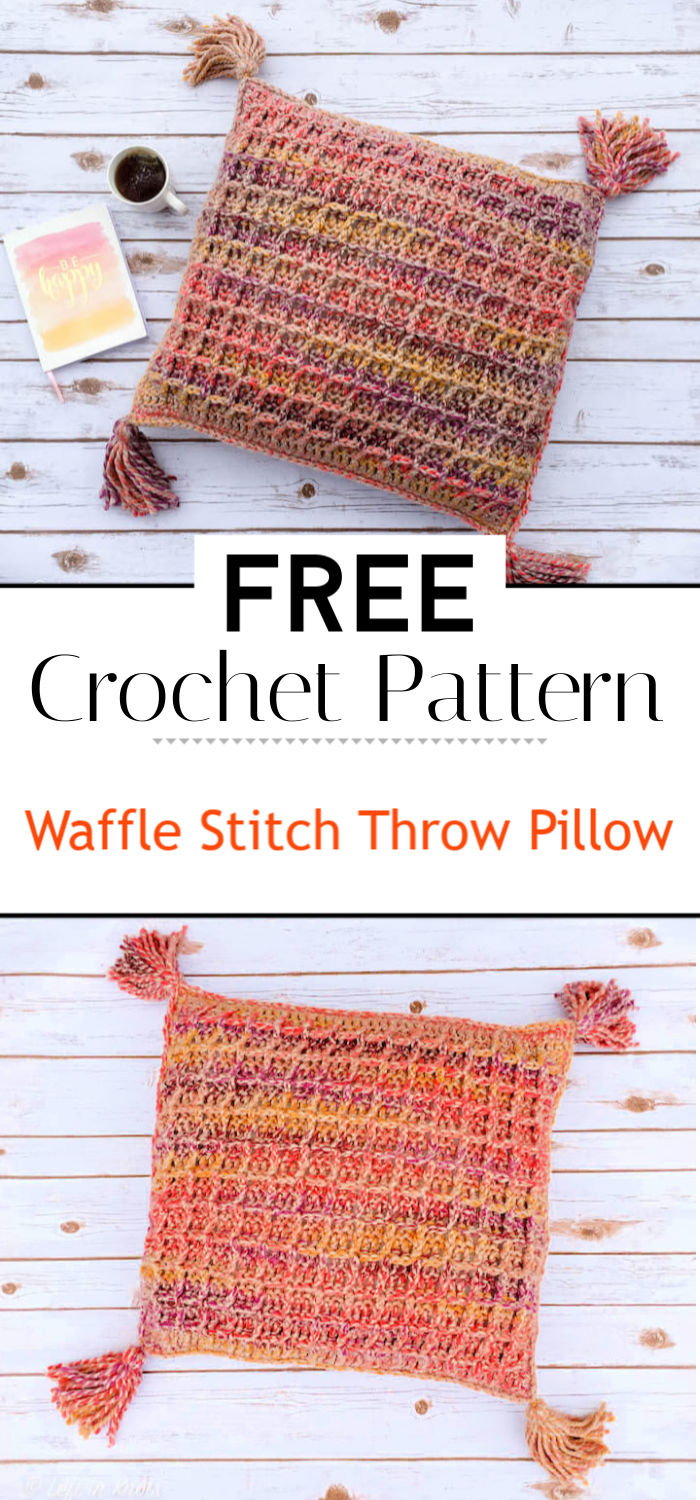 Waffle Stitch Throw Pillow Free Crochet Pattern
