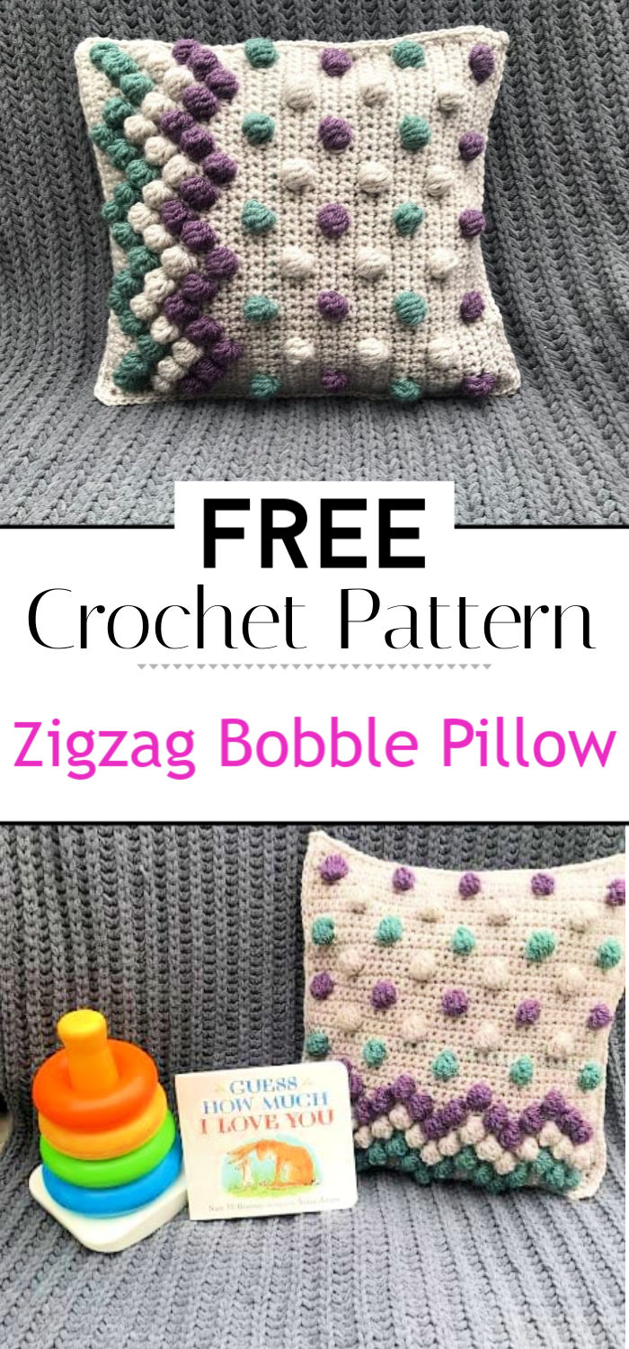 Zigzag Bobble Pillow A Free Crochet Pattern